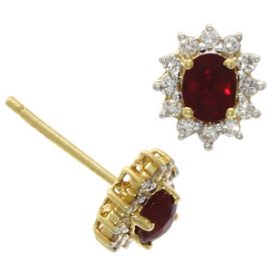 Fine Jewellery 18ct Yellow Gold Ruby & Diamond Oval Star Cluster Earrings 4109471