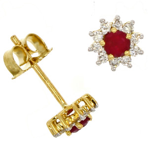 Fine Jewellery 18ct Yellow Gold Ruby & Diamond Round Star Studs Earrings 4109472