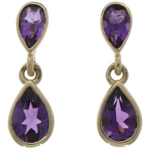 Fine Jewellery 9ct Amethyst Pear Shaped Double Drops Earrings 4109476