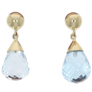 Fine Jewellery 9ct Yellow Gold Blue Topaz Pear Shaped Drop Earrings 4109481