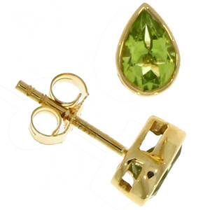 Fine Jewellery 9ct Yellow Gold Peridot Pear Shaped Rub Over 6x4mm Earrings 4109482