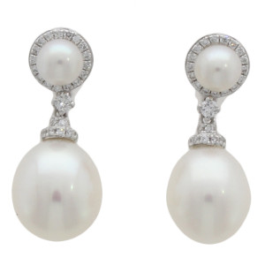 Fine Jewellery 18ct White Gold Pearl & Diamond Round Cluster Drop Earrings 4109483