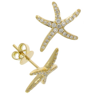 Fine Jewellery 18ct Yellow Gold Diamond Starfish Studs Earrings 4109484