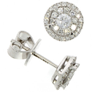 Fine Jewellery 18ct White Gold Brilliant Cut Diamond Halo Studs Earrings 4109485