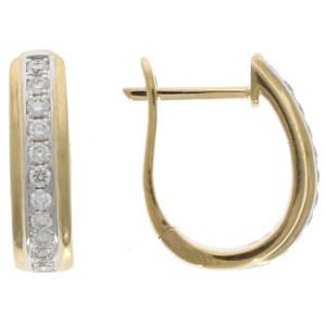 Fine Jewellery 18ct Diamond Centre Line Huggies Earrings 4109491