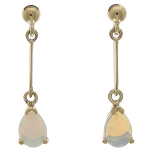 Fine Jewellery 9ct Yellow Gold Opal Pear Shape Claw Set Bar Drops 7x5mm Earrings 4109493