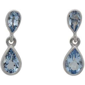 Fine Jewellery 9ct White Gold Aquamarine Double Pear Shape Drop Earrings 4109497