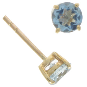 Fine Jewellery 9ct Yellow Gold Aquamarine Round Claw Set Stud 5mm Earrings 4109499