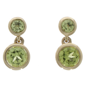 Fine Jewellery 9ct White Gold Peridot Round Double Drops Earrings 4109504