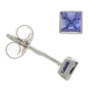 Fine Jewellery 9ct White Gold Tanzanite Square Stud 3mm Earrings 4109507