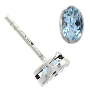 Fine Jewellery 9ct White Gold Aquamarine Oval Rubover Stud Earrings 4109509