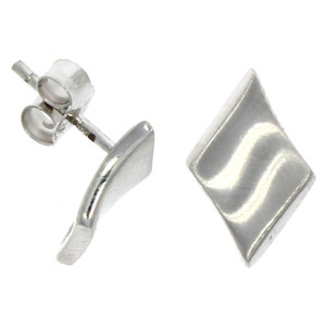 Fine Jewellery 9ct White Gold Concave Diamond Shape Stud Earrings 4109515