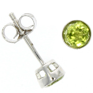Fine Jewellery 9ct White Gold Peridot Round Rub Over 4mm Earrings 4109518
