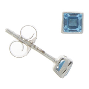 Fine Jewellery 9ct White Gold Blue Topaz Square Rub Over 3mm Earrings 4109524