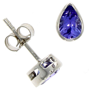 Fine Jewellery 9ct White Gold Tanznite Pear Shape Rub Over Stud 6×4mm Earrings 4109526