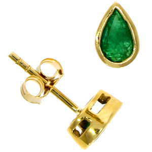 Fine Jewellery 9ct Yellow Gold Emerald Pear Shape Rub Over Stud 6×4mm Earrings 4109528
