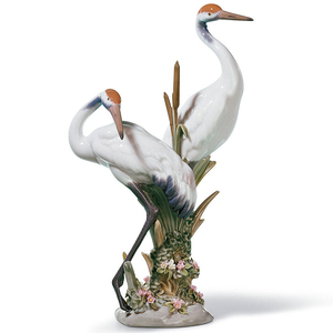Lladro Porcelain Courting Cranes Figurine 01001611