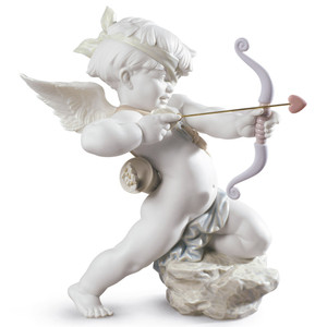Lladro Porcelain Straight To The Heart Cupid Angel Figurine 01009209