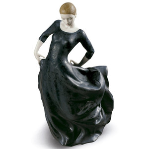 Lladro Porcelain Buleria Flamenco Dancer Woman Figurine Black 01009182