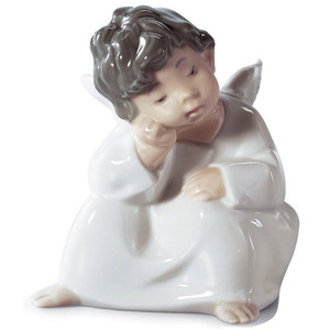Lladro Porcelain Angel Thinking Figurine 01004539