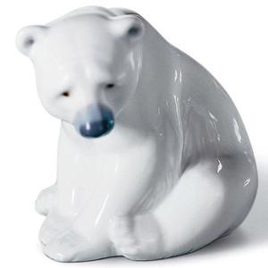 Lladro Porcelain Seated Polar Bear Figurine 01001209