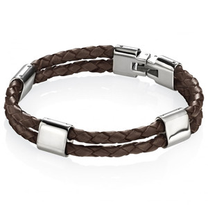 Fred Bennett Adventurer Men's Stainless-Steel Double Row Brown Leather 21.5cm Bracelet B3671