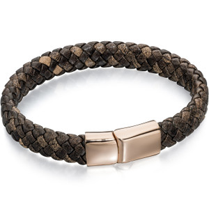 Fred Bennett Adventurer Men's Rose Gold Plated Brown Leather Braid Bracelet B4685