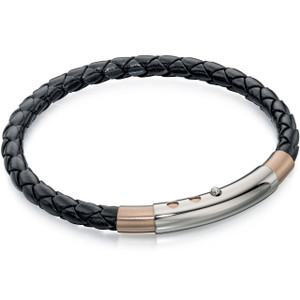 Fred Bennett New Gent Men's Rose Gold Plated Stainless-Steel Thin Black Leather Bracelet B4687