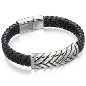 Fred Bennett Maverick Men's Stainless-Steel Plaited Design Black Leather Bracelet B4722