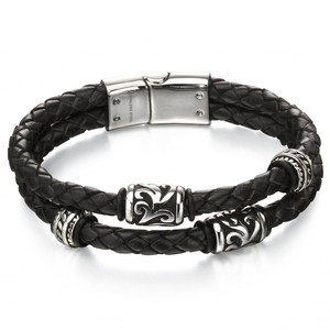 Fred Bennett Maverick Men's Stainless-Steel Black Leather Tribal Detail Bracelet B4980