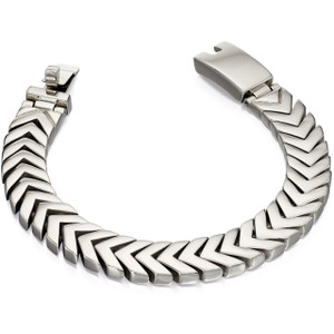 Fred Bennett New Gent Men's Polished Stainless-Steel Chevron Link 19cm Bracelet B4996