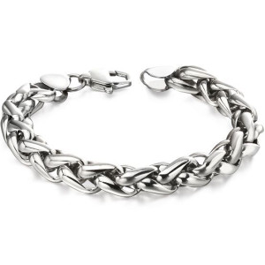 Fred Bennett Men's Stainless-Steel Twisted Black Link Bracelet B5057