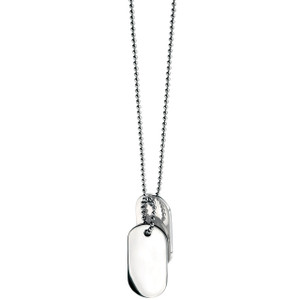 Fred Bennett Maverick Men's Stainless-Steel Oval Dog Tags 56cm Necklace N2686