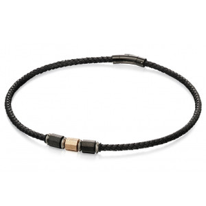 Fred Bennett New Gent Men's Rose Gold And Black IP Geo Bead Black Leather Necklace N4151