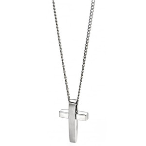 Fred Bennett Maverick Men's Stainless-Steel Matt And Polished Cross Necklace P2542