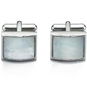 Fred Bennett Men's Stainless-Steel White Mother Of Pearl Cufflinks V422