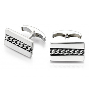 Fred Bennett Men's Silver Oxidised Chain Detail Cufflinks V478