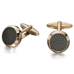 Fred Bennett Men's Rose Gold Ion Plated Black Embossed Round Cufflinks V498