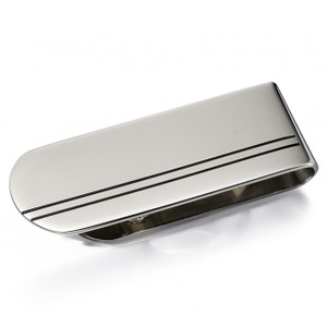 Fred Bennett Men's Stainless-Steel And Black Enamel Stripe Money Clip Y026