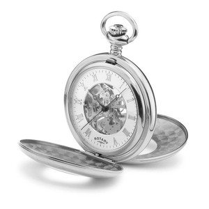 Rotary Half Hunter Stainless Steel Mechanical Pocket Watch MP00712/01