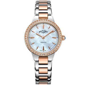 Rotary Women's Kensington Quartz White Mother Of Pearl Dial Austrian Crystals Bracelet Watch LB05277/41