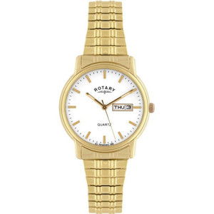 Rotary Men's Classic Quartz White Dial PVD Gold Plated Expandable Bracelet Watch GBI02764/08