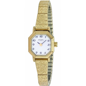Rotary Women's Classic Quartz White Dial Gold Plated Expandable Bracelet Watch LBI00764/29