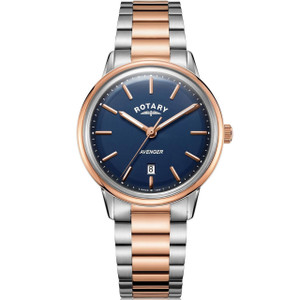 Rotary Men's Avenger Quartz Blue Dial Two Tone Rose Gold Plated Bracelet Watch GB05342/05