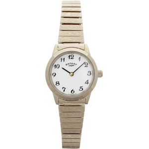 Rotary Women's Classic Quartz White Dial Gold Plated Expandable Bracelet Watch LBI00762