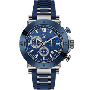 Gc Men's GC-1 Sport Quartz Chronograph Blue Dial Silicone Strap Watch X90025G7S