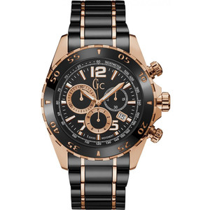 Gc Men's Sport Racer Chronograph Black Dial Stainless-Steel Bracelet Watch Y02014G2