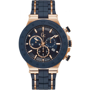 Gc Men's Structura Chronograph Blue Dial Silicone Strap Watch Y35002G7