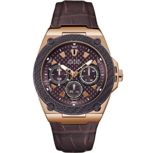 Guess Men's Legacy Quartz Purple Dial Brown Leather Strap Watch W1058G2