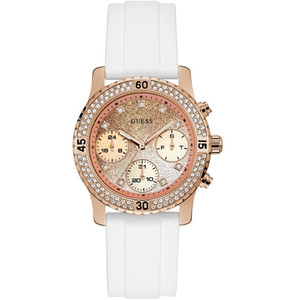 Guess Women's Confetti Crystals Rose Gold Glitter Dial Silicone Strap Watch W1098L5